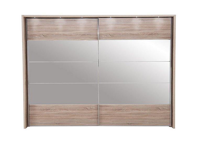 Laguna 2 Door Slider Wardrobe With Lights 310cm in Lt Rustic Oak/Mirrors on Furniture Village