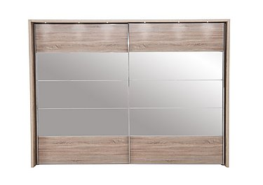 Laguna 2 Door Slider Wardrobe With Lights 310cm in Lt Rustic Oak/Mirrors on FV