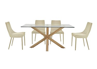 Evoque 200cm Dining Table and 4 Vista Chairs in Natural on FV