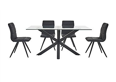 Evoque 200cm Dining Table and 4 Prism Chairs in Matt Black / Black Pu on FV