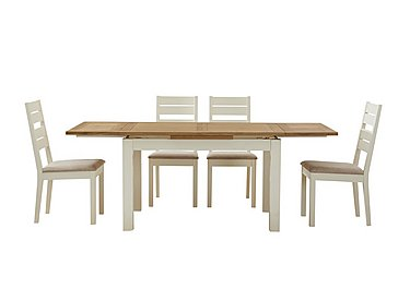 Compton Extending Dining Table and 4 Slatted Back Chairs in Two Tone on FV