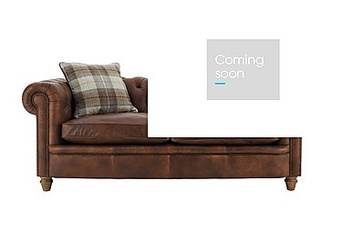 New England Newport 3 Seater Leather Sofa with 2 Wool Scatter Cushions in Cal Original W-Oak Feet on FV