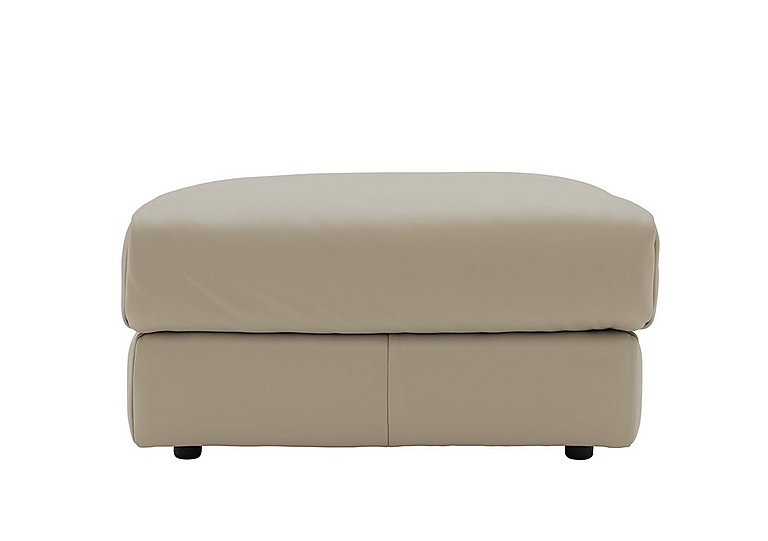 Tess Leather Footstool in P321 Husk Clay on Furniture Village