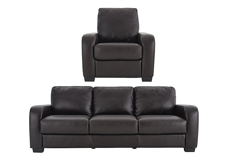 Astor Leather 3 Seater Sofa with Manual Recliner Armchair