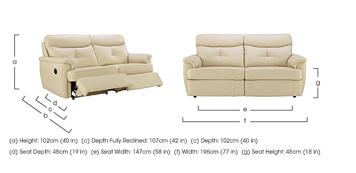 Atlanta 3 Seater Leather Recliner Sofa in  on Furniture Village