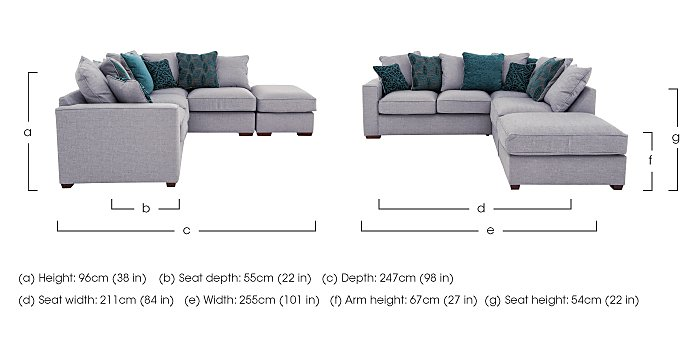 Dune Small Fabric Corner Pillow Back Sofa with Footstool in  on FV