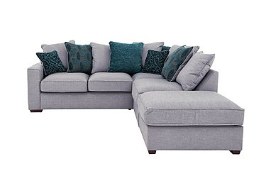 Dune Small Fabric Corner Pillow Back Sofa with Footstool in Barley Silver-Teal Dk Feet on Furniture Village