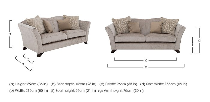 The Hollywood Collection Hepburn 3 Seater Fabric Sofa in  on Furniture Village