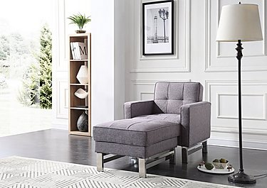 Newman Fabric Chair Bed with Footstool in  on Furniture Village