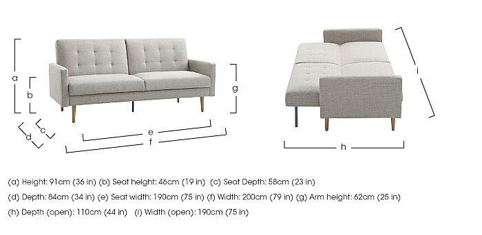 Sacha Fabric Sofa Bed in  on Furniture Village