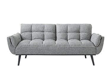 Collette Fabric Sofa Bed in Light Grey W Contrast Piping on FV
