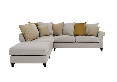 Sahara Fabric Corner Sofa with Footstool in Denbeigh Ercu Dark Feet on FV
