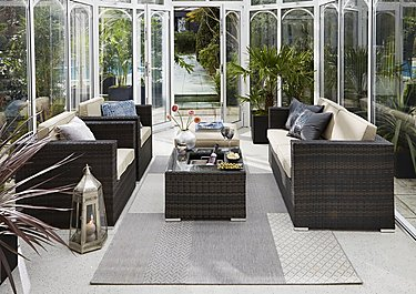 Oasis 5 Piece Rattan Lounge Set with 2 Seater Sofa and Ice Bucket Coffee Table in Brown on FV