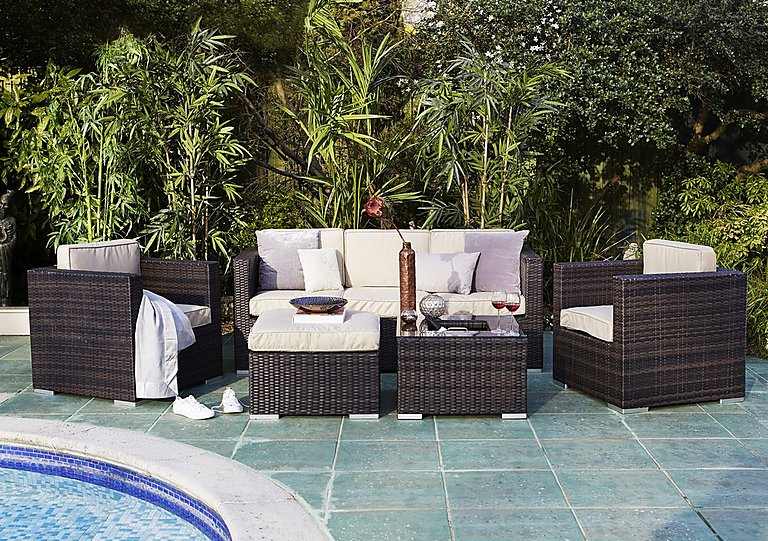 Oasis 5 Piece Rattan Lounge Set with 3 Seater Sofa and Ice Bucket Coffee Table