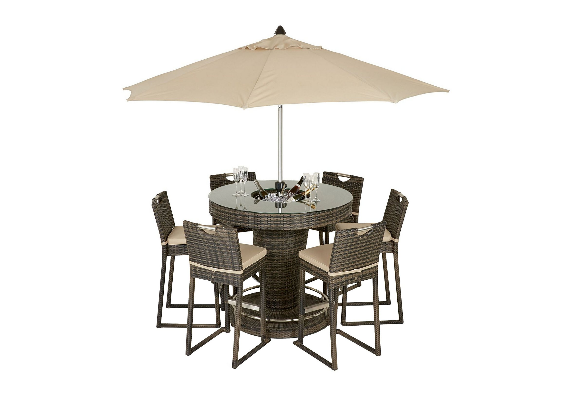 Ice Bucket Table Oasis 6 Seater Dining Set With Ice Bucket Table Parasol