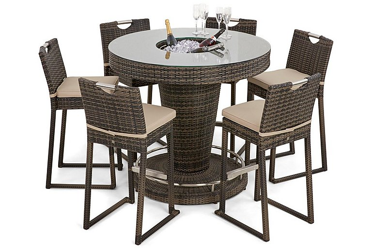 Oasis 6 Seater Dining Set with Ice Bucket Table & Parasol