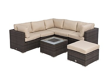 Oasis Rattan Lounge Set with Corner Sofa, Stool and Ice Bucket Coffee Table in Brown on FV