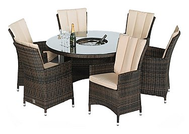 Oasis 6 Seater Round Rattan Dining Set with Ice Bucket Table and Parasol in Brown on FV