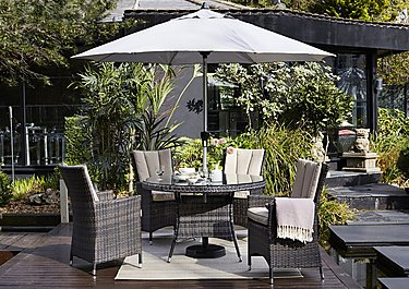 Oasis 4 Seater Round Rattan Dining Set with Parasol in Brown on FV
