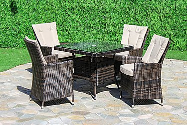 Oasis 4 Seater Square Rattan Dining Set with Parasol in Brown on FV