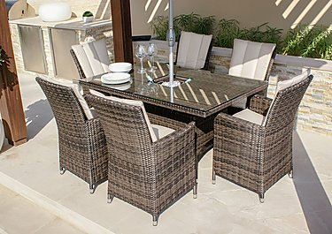 Oasis 6 Seater Rectangular Dining Set with Ice Bucket Table and Parasol in Brown on FV