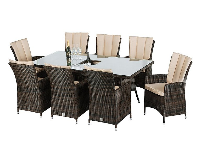 Oasis 8 Seater Rectangular Rattan Dining Set with Ice Bucket Table and Parasol