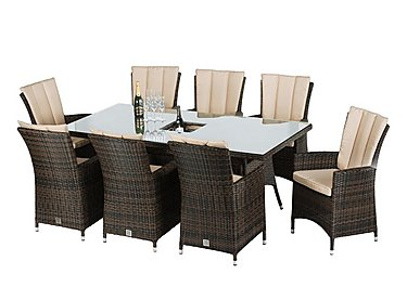 Oasis 8 Seater Rectangular Rattan Dining Set with Ice Bucket Table and Parasol in Brown on FV