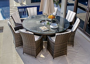 Oasis 8 Seater Dining Set with Ice Bucket Table & Parasol in Brown on FV