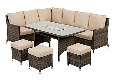 Oasis Corner Rattan Dining Set with Corner Sofa, Stools and Ice Bucket Table in Brown on FV