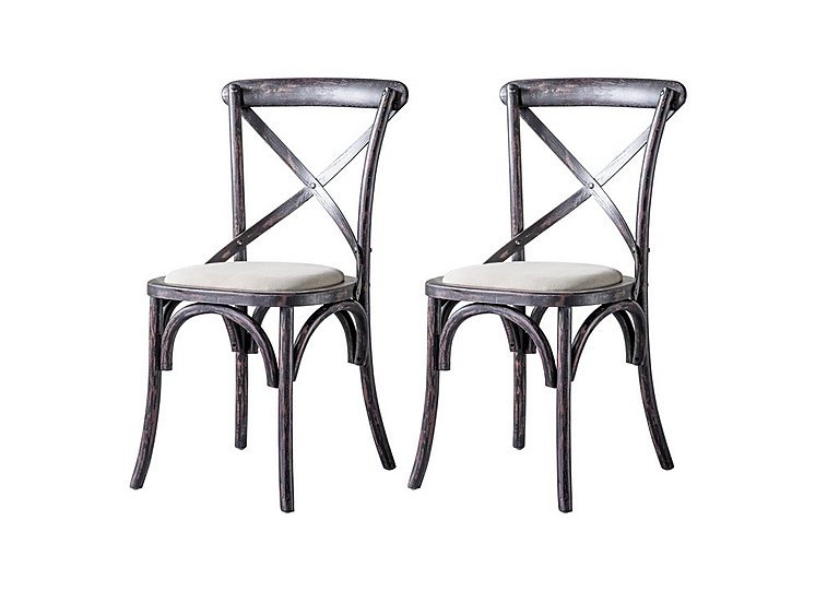 Riviera Pair of Cross Back Chairs in Black on Furniture Village