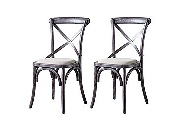Riviera Pair of Cross Back Chairs in Black on FV