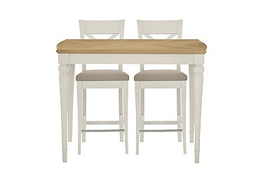 Annecy Bar Table with 2 Leather Cross Back Bar Stools in Pale Oak And Antique White on Furniture Village