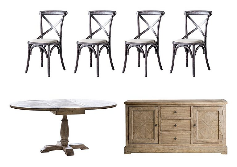 Riviera Extending Table, 4 Chairs and Sideboard Set