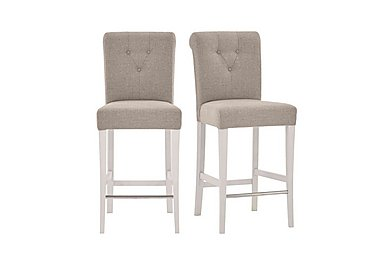 Annecy Pair of Fabric Roll Back Bar Stools in Pebble Grey on Furniture Village