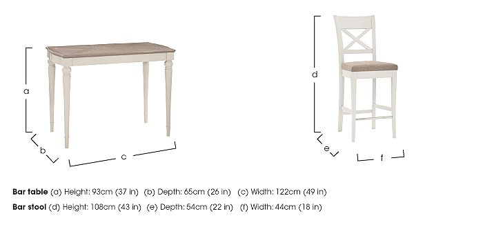 Annecy Bar Table with 2 Fabric Cross Back Bar Stools in  on FV