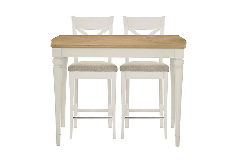 Annecy Bar Table with 2 Fabric Cross Back Bar Stools in Soft Grey on FV