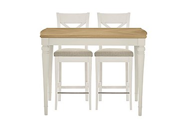 Annecy Bar Table with 2 Fabric Cross Back Bar Stools in Soft Grey on Furniture Village