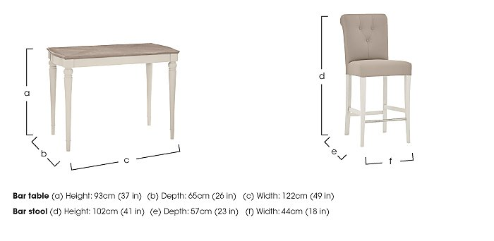 Annecy Bar Table with 2 Leather Roll Back Bar Stools in  on Furniture Village