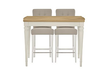 Annecy Bar Table with 2 Leather Roll Back Bar Stools in Pale Oak And Antique White on Furniture Village