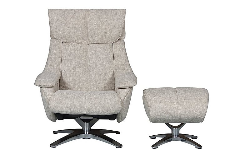Prague Fabric Recliner Swivel Armchair and Footstool