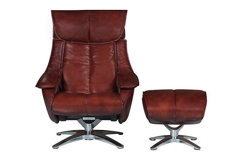 Prague Leather Recliner Swivel Armchair and Footstool