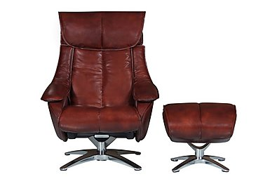 Prague Leather Recliner Swivel Armchair and Footstool in Conker Brown on FV