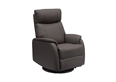 Budapest Faux Leather Recliner Armchair in Charcoal Plush on FV