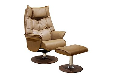 Amsterdam Leather Swivel Armchair with Footstool in Baileys Beige on Furniture Village