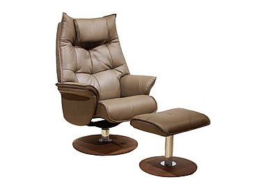 Amsterdam Leather Swivel Armchair with Footstool in Godiva Brown on FV