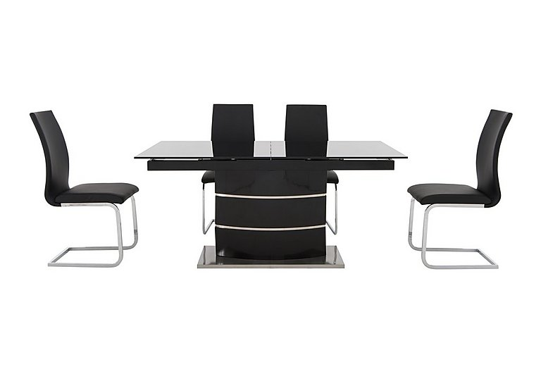 Malibu Black Table and 4 Dining Chairs in Black on Furniture Village