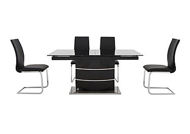 Malibu Black Table and 4 Dining Chairs in Black on FV
