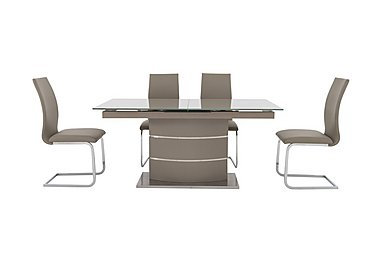 Malibu Taupe Table and 4 Dining Chairs in Taupe on FV