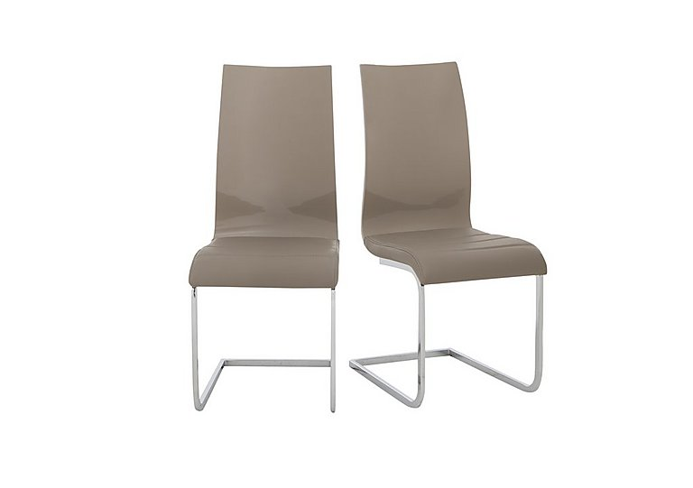 Malibu Pair of Lacquer Dining Chairs in Taupe on FV