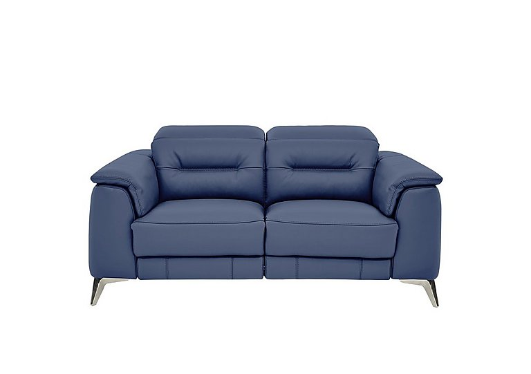 Sanza 2 Seater Leather Recliner Sofa in Bv-313e Ocean Blue on Furniture Village
